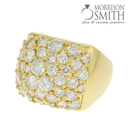 Made with various sized diamonds supplied by customer.